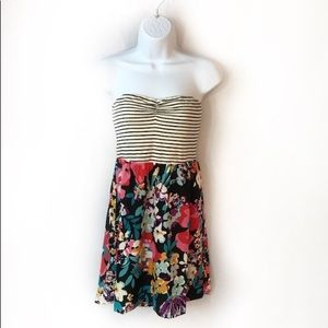 Roxy Strapless M Striped Floral Surfer Girl Dress